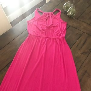 GAP Rouched Tback Maxi Dress - Hot Pink